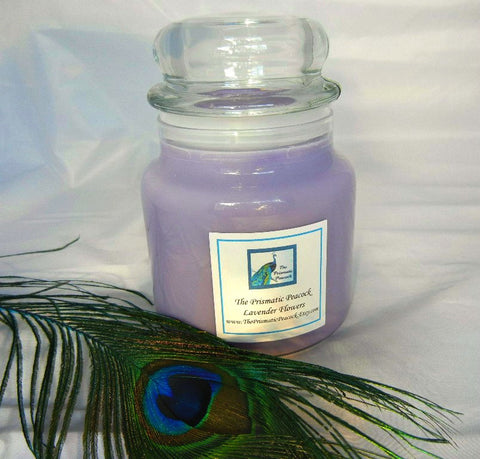 Lavender Flowers Scented Soy Candle 20oz Apothecary Jar Dome Top Lid Purple