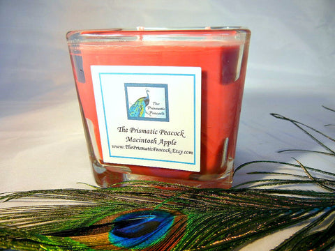 Macintosh Apple Scented Soy Candle 12oz Cube Red