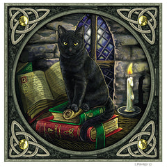 Magical Cat and Spell Books Yule Cards by Lisa Parker
