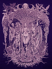 Maiden-Mother-Crone Triple Goddess Short Sleeve T-Shirt - Purple