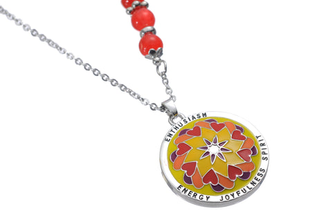 Mandala Pendant & Necklace. Meaning: Enthusiam. Energy, Joyful, & Spirited