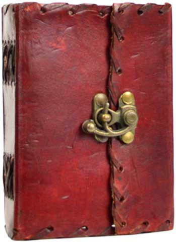 "Medium 1842 Poetry Leather Blank Book w/latch - 4"" x 5"""