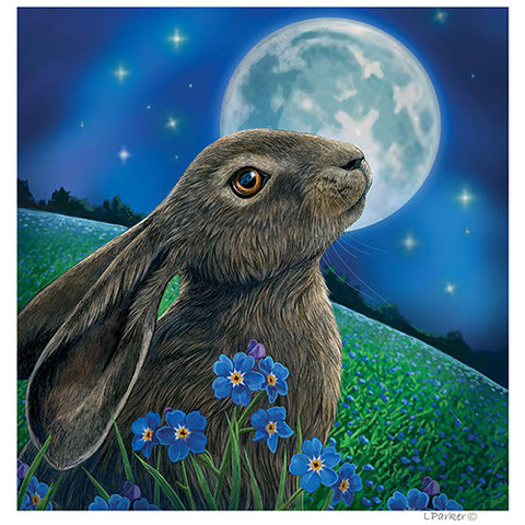 Moon Gazing Hare - Yule Cards By Lisa Parker