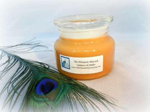 Oakmoss & Amber Scented Soy Candle 12oz Apothecary Jar Gold
