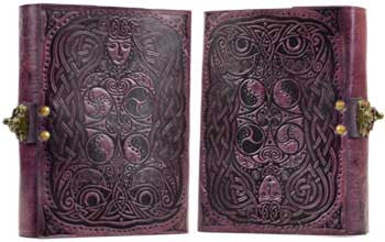 "Handmade Owl Leather Book of Shadows - 5"" x 7"""