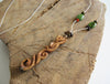 Woodland Vines Hand Carved Salvaged Wood Necklace on Hemp with Stones