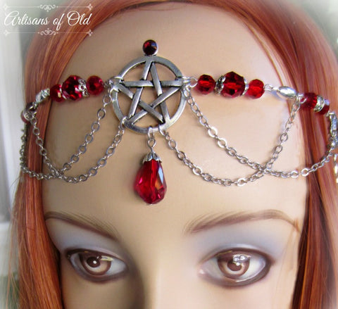 Pentacle Ritual Circlet, Ankhs, Handfasting Headdress, Red Wedding, Choose Color