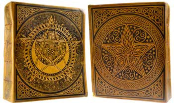 Pentagram Tan Leather Book of Shadows