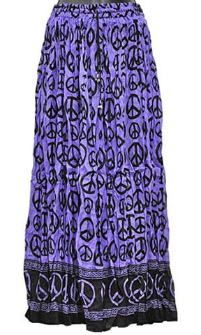 Purple Peace Sign Crinkle Gypsy Skirt