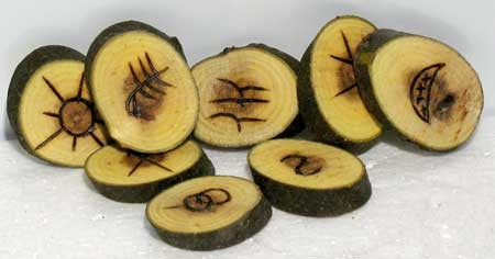 Witches` Wooden rune set
