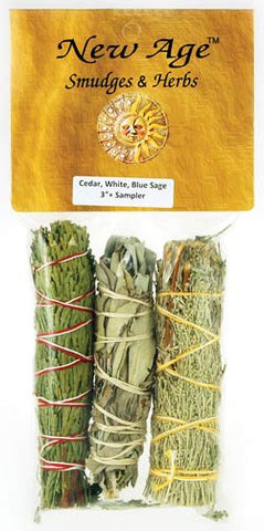 Cedar, White & Blue Sage smudge stick 3-Pack
