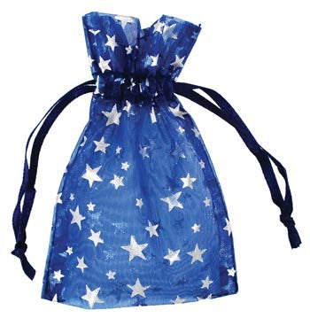 Small Blue Organza Pouch with Silver Stars