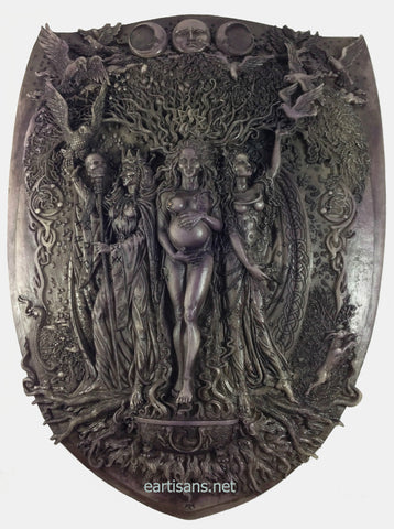 Triple Goddess Plaque Maiden Mother And Crone Stone Finish