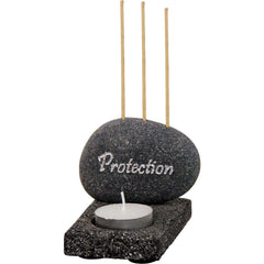 Protection Stone Tea Light and Incense Holder