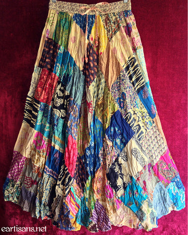 Sunset Groove Gypsy Patchwork Skirt-Free Size