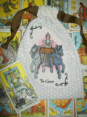 The Chariot Embroidered Tarot Rune Bag 7x9 inch