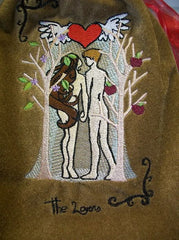Embroidered The Lovers Tarot Rune Drawstring Bag 7x9 inch