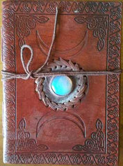 "Triple Moon Blank Leather Book with Moonstone and Cord 5"" x 7"""