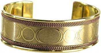 Triple Moon Engraved Copper and Brass Bracelet