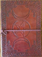 "Triple Moon Pentacle Leather Blank Book with Cord 5"" x 7"""