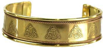 Triquetra Engraved Copper and Brass bracelet