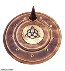 Round Triquetra Stick and Cone Incense Burner Plate