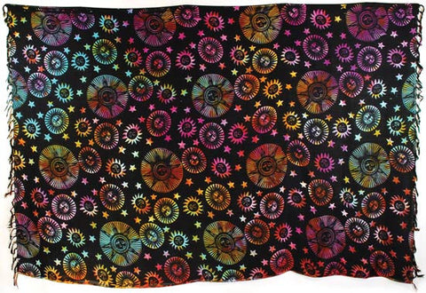 "Large Sun and Stars Tie Dye Sarong (44"" x 72"" )"