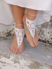 White Barefoot Sandals-Triangle Lace