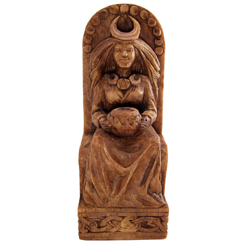 Seated Moon Goddess Statue - Wood Finish