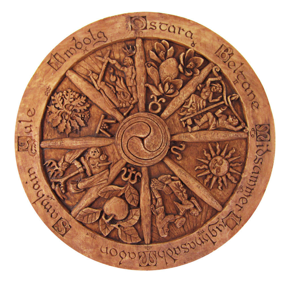 Pagan Home Decor: Large Wheel Of The Year Plaque-Wood Finish