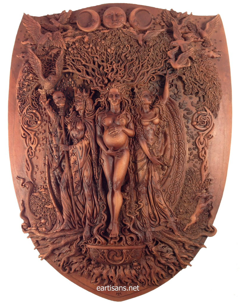 Garden wall plaques - Triple Goddess Plaque Maiden Mother And Crone Wood Finish