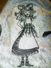 Silver Velvet Embroidered Alice In Wonderland Tarot Drawstring Bag 7x9 inch