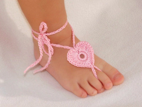 Baby Barefoot Heart Sandals-Pink