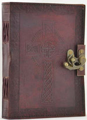"Celtic Cross Leather Blank Book of Shadows 6"" x 8"""