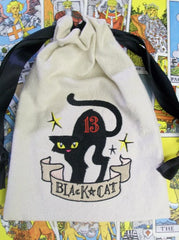 Embroidered Tan Canvas Black Cat 13 Tarot/Rune Drawstring Bag 7x9 inch