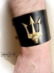 Trident Black Leather Cuff, Percy Jackson Leather Bracer