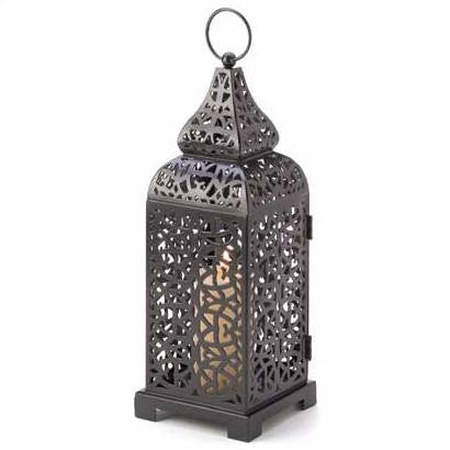 Black Moroccan Tower Candle Lantern 13""