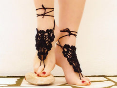 Black Barefoot Sandals-Gothic Victorian Lace