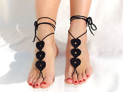 Black Heart Handmade Barefoot Sandals