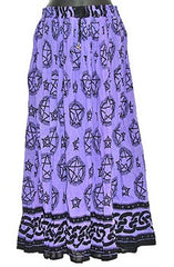 Blue Pentacle Crinkle Gypsy Skirt