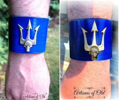 Trident Blue Leather Cuff, Percy Jackson Leather Bracer
