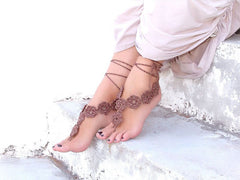 Brown Flower Handmade Barefoot Sandals