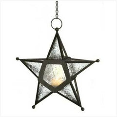 Clear Glass Pentagram Hanging Candle Lantern 9 1/2""