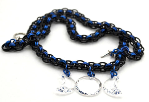 Crystal Triple Moon Blue and Black Chainmaille Necklace