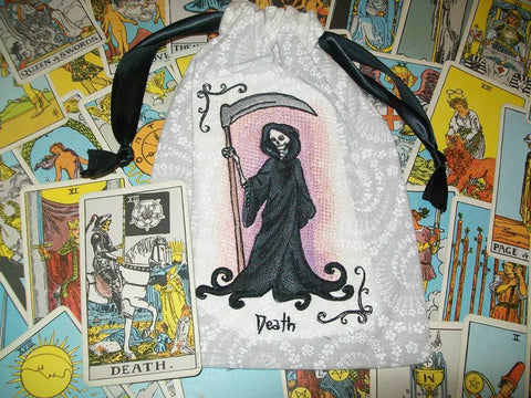 Death Embroidered Rune/Tarot Drawstring Bag 7x9 inch