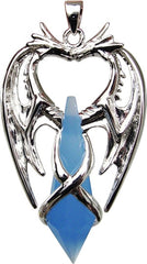 Double Dragon Crystal Pendant For Psychic Protection - Anne Stokes