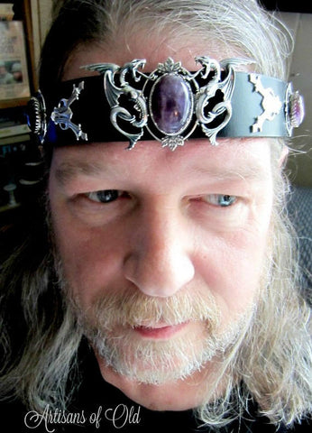 Dragon Headpiece, Amethyst, Mens Black Leather Headband