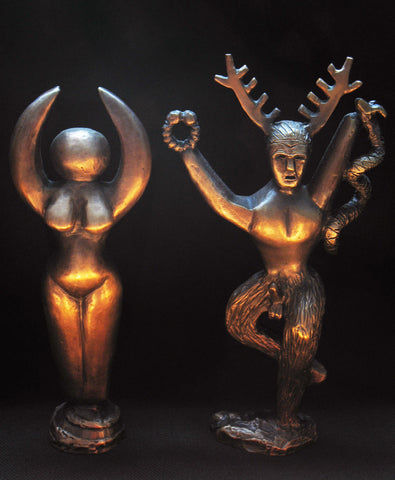 Hand Made Solid Bronze Goddess and Cernunnos Statue Set