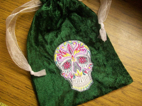 Embroidered Green Velvet Calavera Skull Tarot/Rune Drawstring Bag 7x9 inch