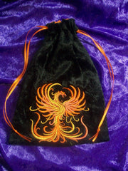 Embroidered Black Velvet Fire Phoenix Tarot/Rune Drawstring Bag 7x9 inch